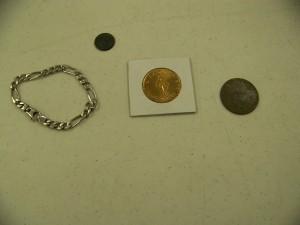 "Silver Braclet, 1893 ""O"" Barber dime, Masonic token"