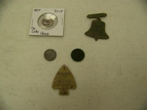 1857 seated dime, bell shaped medal, 1909O Barber dime, 1900 Indian cent, 1934 Ford Exposition token