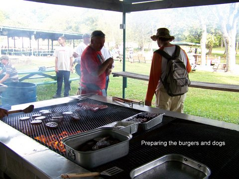 Preparing the burgers and dogs